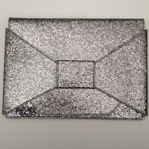 Banana Republic Factory Silver Glitter Clutch